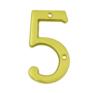 3 Inch Bright Brass 5 House Numbers Home Address Plaque