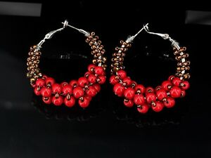 Earrings-Ring-Creole-Silver-Pearl-Red-Brown-Original-Marriage-M2