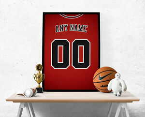 Chicago Bulls Jersey Poster Print - Personalized Name & Number FREE US SHIPPING