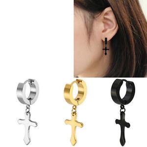 Details About 1pair Men Women Cross Ear Stainless Steel Party Stud Silver Black Earrings Hot