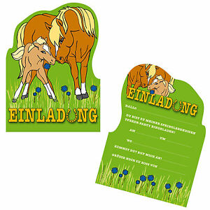 Image Is Loading 6 Invitation Cards HORSES PONY For Kid 039