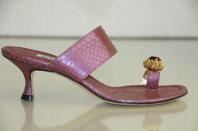 New MANOLO BLAHNIK Zionima Jeweled Purple Python SANDALS SHOES Kitten Heels 37