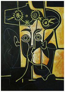 Femme au Chapeau Orne 1962 - Hand Painted Picasso Cubist Oil ...