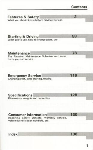 1991 Honda Accord 4 Door Sedan Owners Manual Original OEM Owner User Guide Book