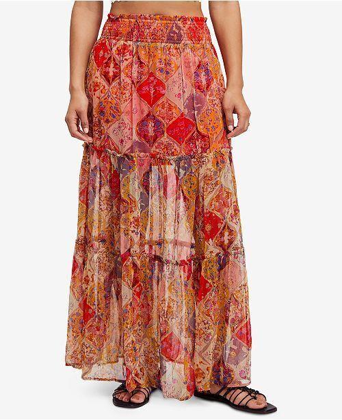 Free People Size Medium M  Gorgeous Great Escape Boho Maxi Skirt NWT NEW