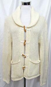 Moda-Intl-Victoria-039-s-Secret-Cardigan-Sweater-Chunky-Toggle-Jacket-Cream-Medium
