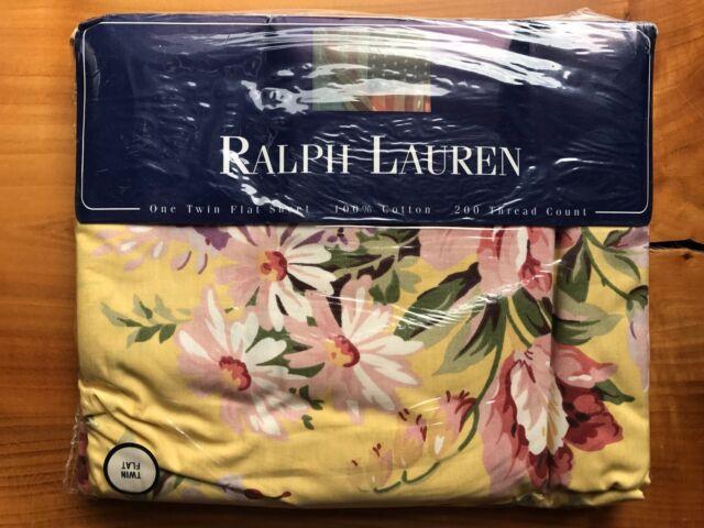 NEW! Ralph Lauren BROOKE Floral Yellow TWIN FLAT Sheet Cottage Floral Cotton