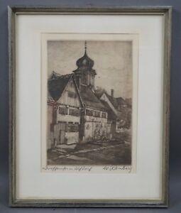 Walter-Romberg-1898-1973-Dorfschloss-in-Alfdorf-handsignierte-Radierung