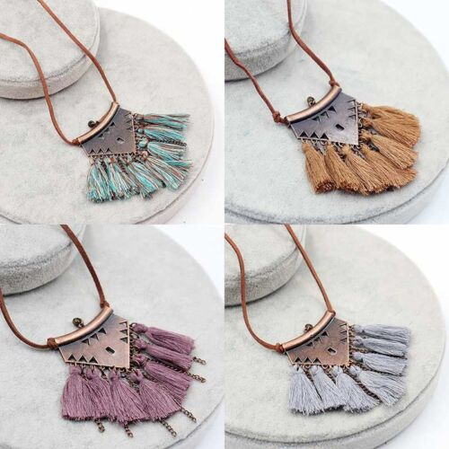 Women Boho Long Tassel Metal Triangle Pendant Necklace Sweater Leather Chain NEW