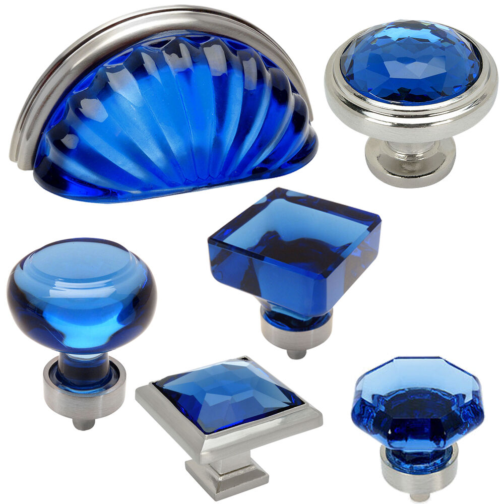 *10 Pack* Cosmas Satin Nickel with Blue Glass Cabinet Cup ...