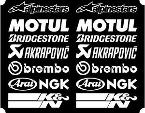 16-X-White-Belly-Pan-Fairing-Sponsor-Logo-Decals-Stickers-Colour-Choice-100mm