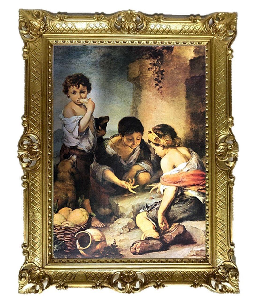 Bettelbuben beim Würfelspiel By Murillo Bild Gemälde ANTIK BAROCK ROKOKO 90x70