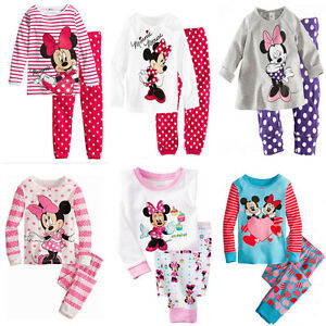 Cute-Minnie-Mickey-Mouse-Kids-Girls-Striped-Nightwear-Pajamas-Set-Sleepwear-Suit