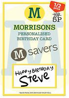 FUNNY PERSONALISED MORRISONS SAVER BIRTHDAY CARD JOKE SPOOF