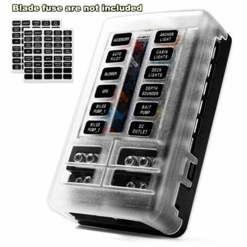 Auto Marine Universal 12-Way Blade Fuse Box Block Holder Screw W// LED Indicator