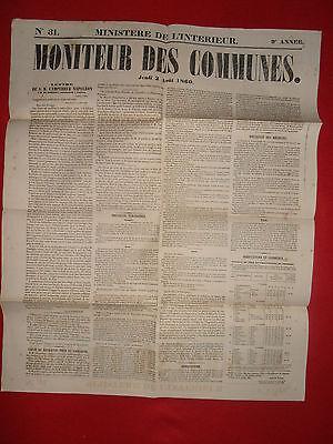 Journal Le Moniteur Des Communes Ministere De L'interieur N°31 - 2 Aout 1860