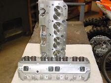 Chevy 350 383 400 Aluminum Cylinder Heads straight plug 327 283 Pro Header 64cc