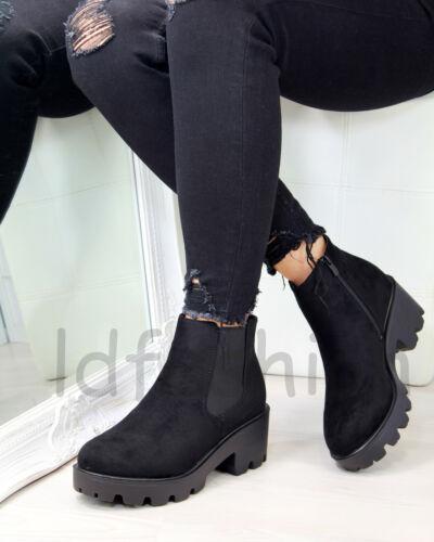 Nouveau Haut Bottines Chelsea Zip Comfy Talon Massif Moyen Chaussures Femmes Tailles