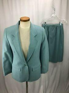 Pendleton-Women-039-s-Blue-Wool-Skirt-Suit-8