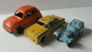 3 Vintage Tootsie Toy Cars Blue Roadster Yellow Chevy Orange Honda Civic - GL223