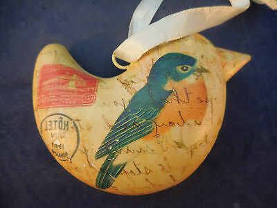 TIN CHRISTMAS ORNAMENT BIRD PUFFY SHAPE BLUEBIRD AND OLD LETTER DESIGN 4 1/4""