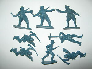 German toy soldiers 9 copies in 5 poses hong kong 1960's vg / cond set no1 blue