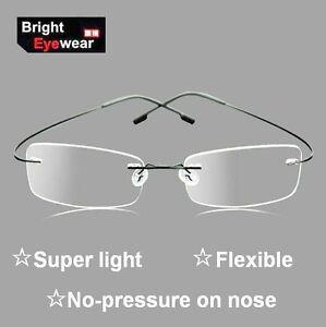 Bendable Metal Eyeglass Frames : Unisex Rimless Memory Titanum Metal Flexible Optical ...