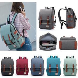 Canvas-USB-Charger-Backpack-School-Laptop-Travel-Rucksack-Satchel-Shoulder-Bag