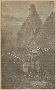 Enthousiaste A3115 Scena Di Un Villaggio Nel Cantone Di Berna_stampa Antica 1887 - Incisione Texture Nette