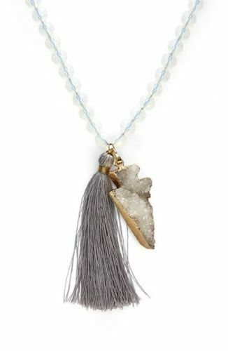 $58 Panacea Druzy Agate Arrowhead Pendant Necklace Beaded Tassel Strand