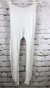 Vintage-Escapade-Formaid-White-Cotton-Long-Underwear-Bottoms-Eyelet-Design-M-L