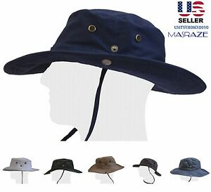 Boonie-Bucket-Hat-Fisherman-Wide-Brim-Safari-Cap-100-Percent-Cotton-Sun-Masraze