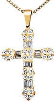 Ladies 14K Yellow Gold Round Baguette Cut Diamond Flower Cross Pendant 0.50ct