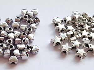 50-Tibetan-Silver-small-4mm-6mm-HEART-STAR-BEADS-Spacer-Jewellery-making
