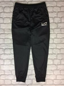EMPORIO ARMANI EA7 MENS UK S BLACK POLY SWEATPANTS JOGGING BOTTOMS ... fd89d903bc9
