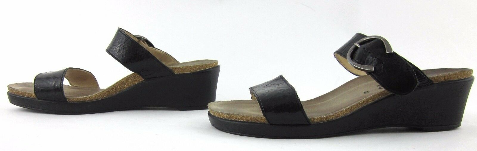 Mephisto Dual Strap Buckle Wedge Sandals nero Crinkle Leather Leather Leather Sz 40 EU   10 US 3907d1