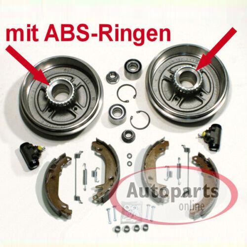 Renault Megane I Bremstrommel Set mit Abs Ringe Zubehör Satz für hinten