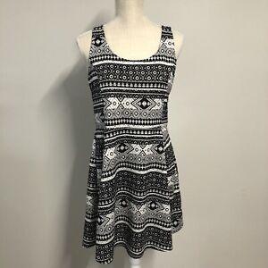 HM Divided Black and White Skater Dress Size 14 Geometric Pattern
