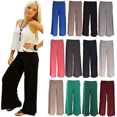Women Ladies Palazzo Flared Wide Leg Pants leggings Baggy Trousers Printed 8to26