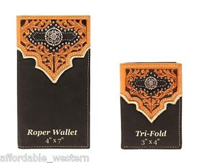 TOOLED-Leather-Overlay-Black-Brown-Nocona-RODEO-WALLET-Roper-Tri-Fold-16