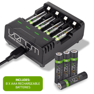 Rechargeable High Capacity AAA Batteries plus Charging Dock - Includes 8 x AAA