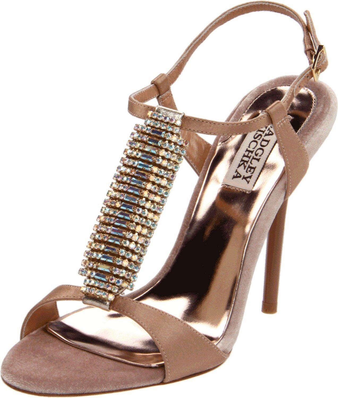 Nib Badgley Mischka Java Sandalen Riemen T-Strap Absatz Schuhe Kristall Beige 5