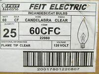 Lot Of 16 Feit Flame Tip Clear Candelabra Bulbs 60cfc ........... Ye-44