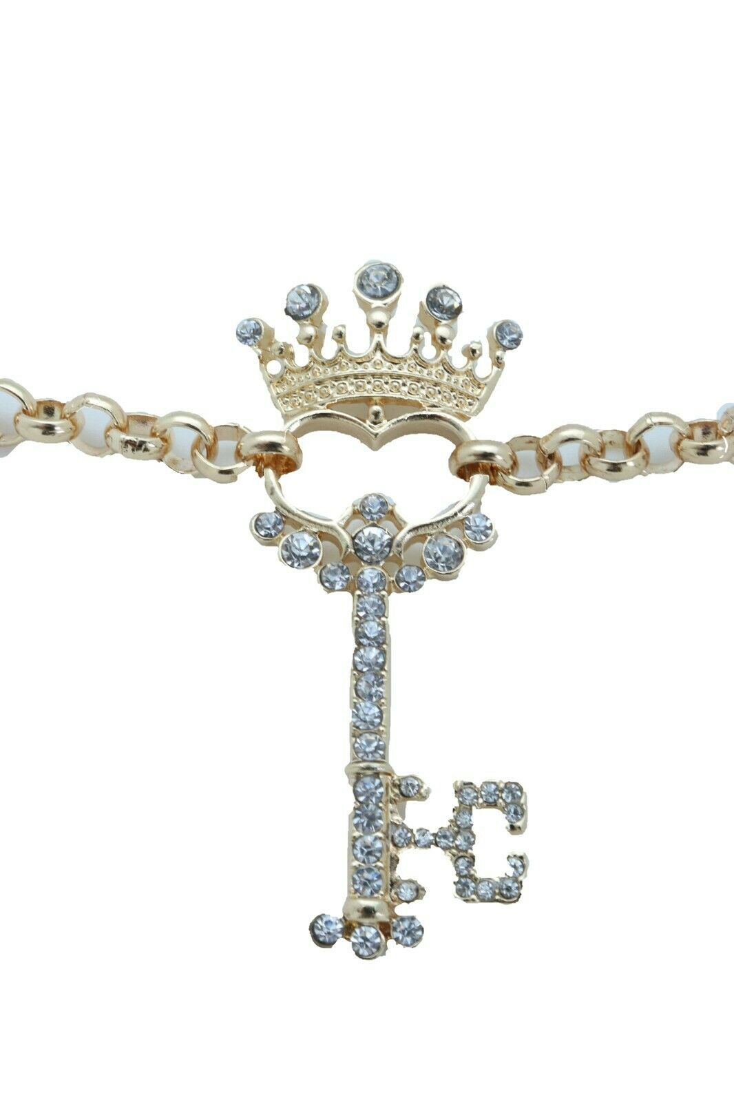 Women Fashion Jewelry Boot Gold Metal Chain Shoe Bracelet Bling Crown Key Charm