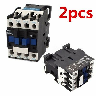 2SET 220V AC Contactor Copper Coil 32A 3-Phase 1NO 50/60Hz Motor Starter Relay