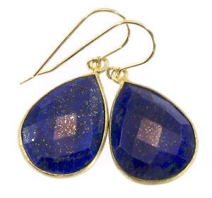 Lapis Earrings Blue Lazuli Large Fat Teardrops Simple 14k Gold Sterling Silver