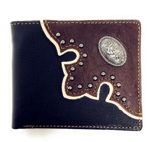 Western Genuine Leather Metal Rooster Concho Men Bifold Short Wallet//Multi Color