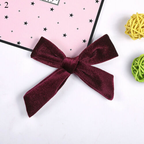 Kids Sweet Velvet Knotted Bow Hair Clip Solid Color Baby Hairpin Girls Barrettes
