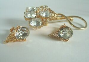 Vtg-STUNNING-Large-Rhinestones-Filigree-Gold-Tone-Brooch-Pin-amp-Clip-Earrings