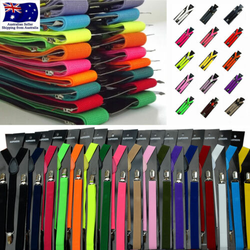Elastic Suspenders Clip On Unisex Braces Mens Women Adjustable Solid Colour